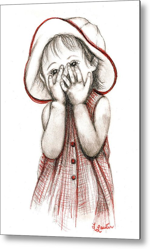 Child Portraits Metal Print featuring the drawing Peek A Boo by L Lauter