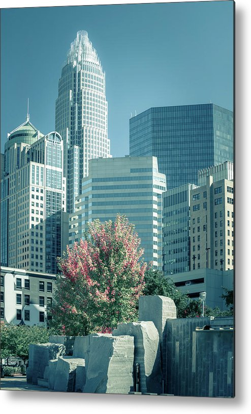 Park Metal Print featuring the photograph Charlotte North Carolina Cityscape During Autumn Season by Alex Grichenko