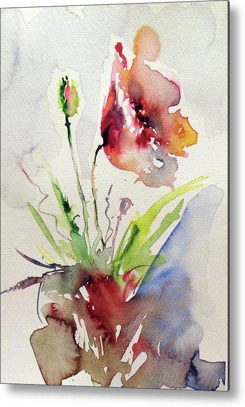 Flower Metal Print featuring the painting Poppy by Kovacs Anna Brigitta