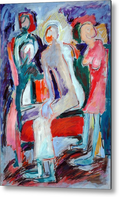 Family Dialogue-new Cultures Metal Print featuring the painting Panting by Ibrahim El tanbouli