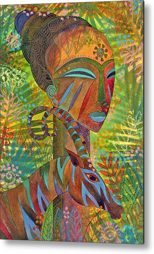 Exotic Jungle African Mask Tropical Antelope Metal Print featuring the painting African Queens by Jennifer Baird
