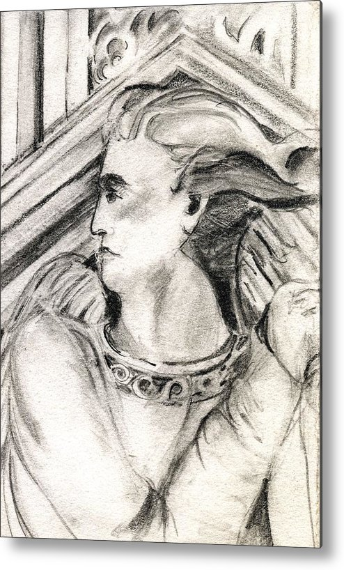 Drawing Metal Print featuring the drawing Angel Of Orieveto Italy by Mindy Newman