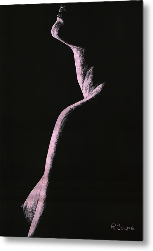 Nude Metal Print featuring the pastel Arrogance by Richard Young