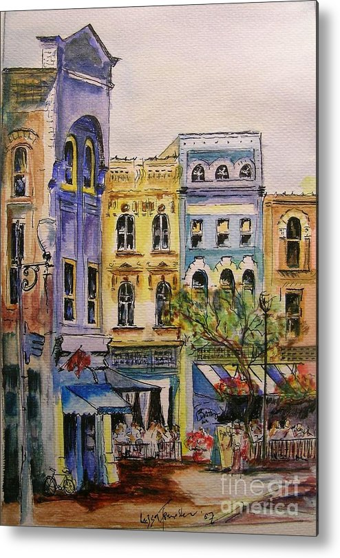 Townhouses Metal Print featuring the painting Asheville by Lizzy Forrester