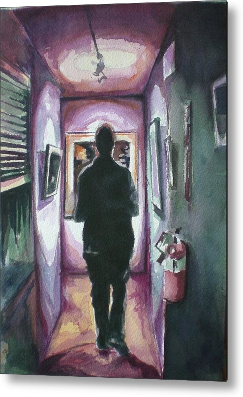 Metal Print featuring the painting At The Gallery by Aleksandra Buha