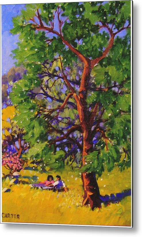 Trees Metal Print featuring the painting At The Park by Jonathan Carter