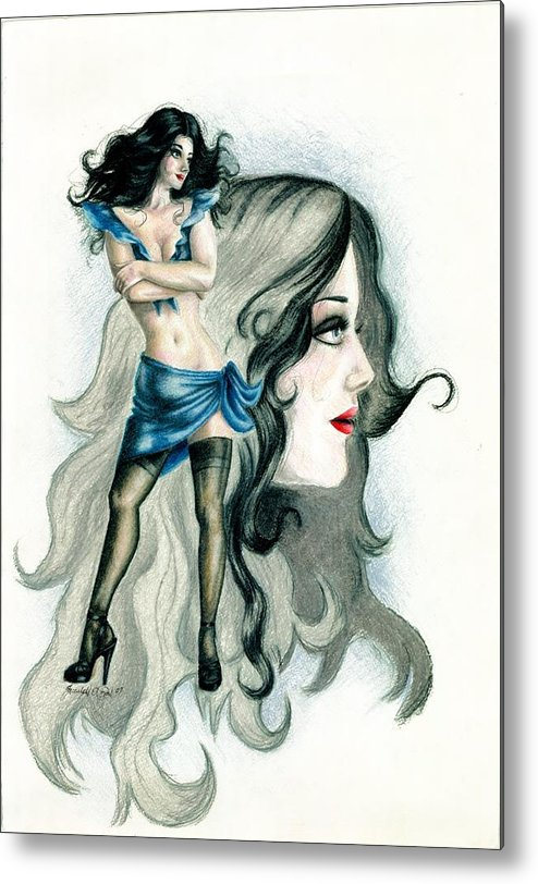 Figure Metal Print featuring the drawing Attitude by Scarlett Royal