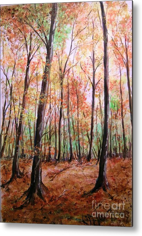 Landscape Metal Print featuring the painting Autumn Forrest by Lizzy Forrester