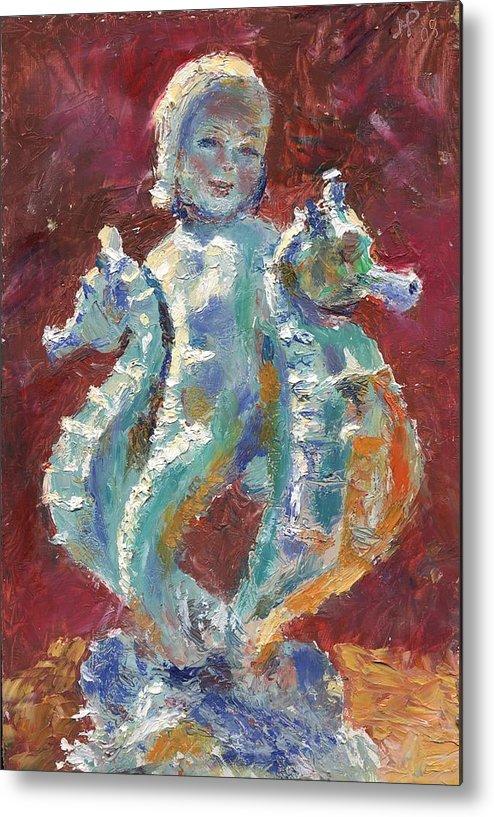 Figure Metal Print featuring the painting Baby Mermaid Avec Seahorses by Horacio Prada