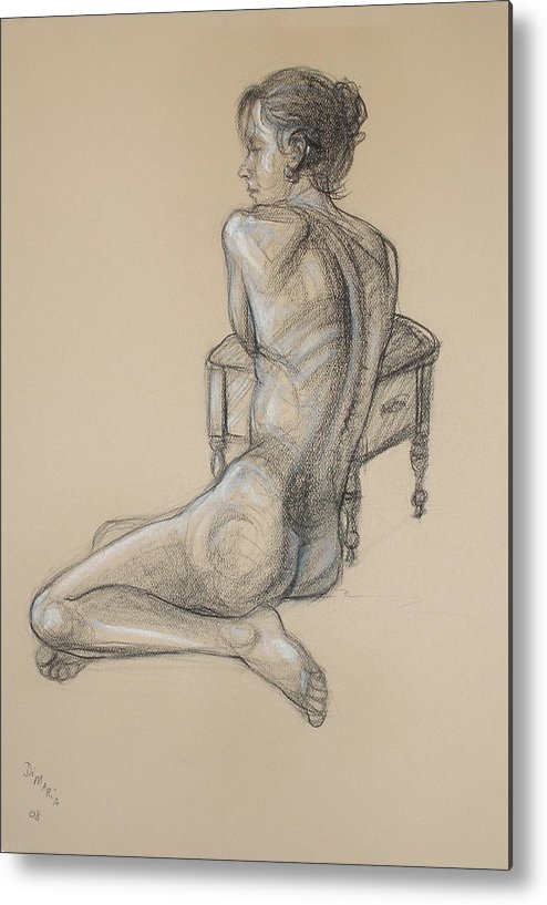 Realism Metal Print featuring the drawing Back Nude 2 by Donelli DiMaria