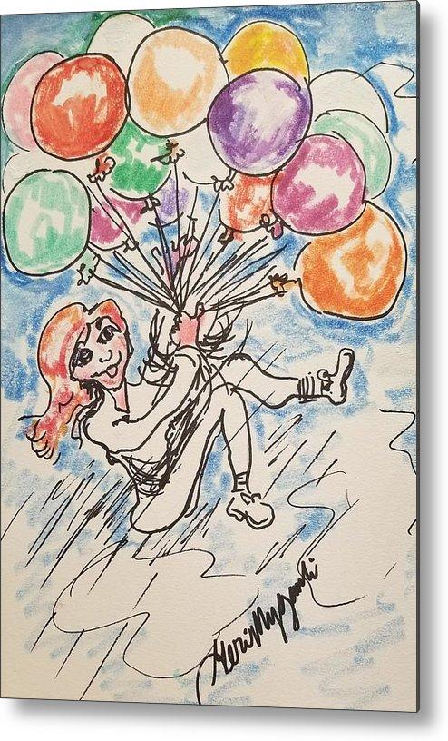 Balloons Metal Print featuring the drawing Balloon Flight by Geraldine Myszenski