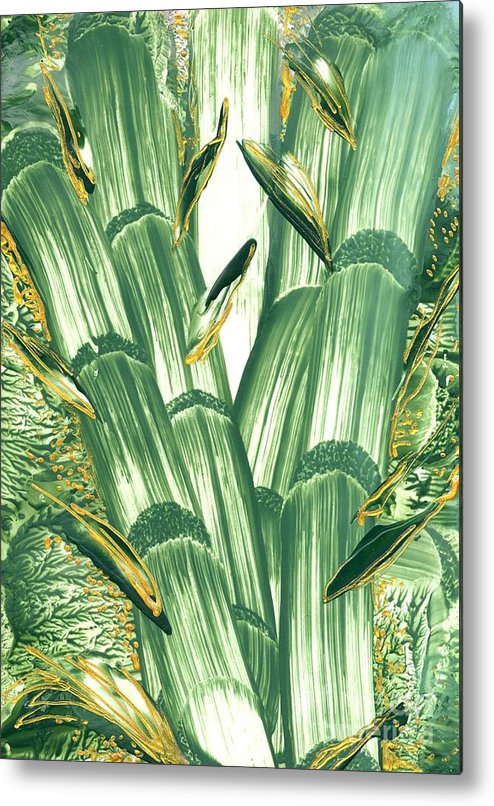 Abstract Encaustic Metal Print featuring the painting Bamboo Treasure by Heather Hennick
