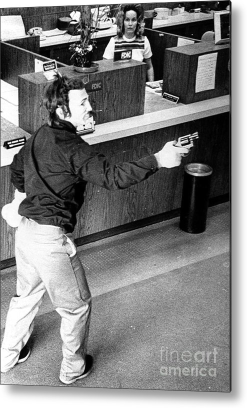 1973 Metal Print featuring the photograph Bank Holdup, 1973 by Granger