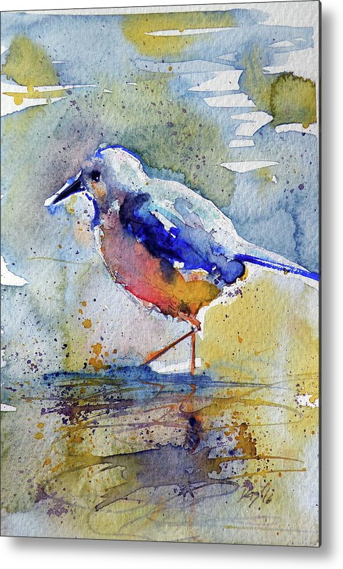 Colorful Metal Print featuring the painting Bird In Lake by Kovacs Anna Brigitta