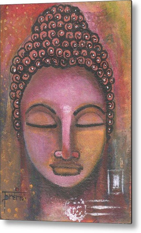 Buddha Metal Print featuring the mixed media Buddha In Shades Of Purple by Prerna Poojara