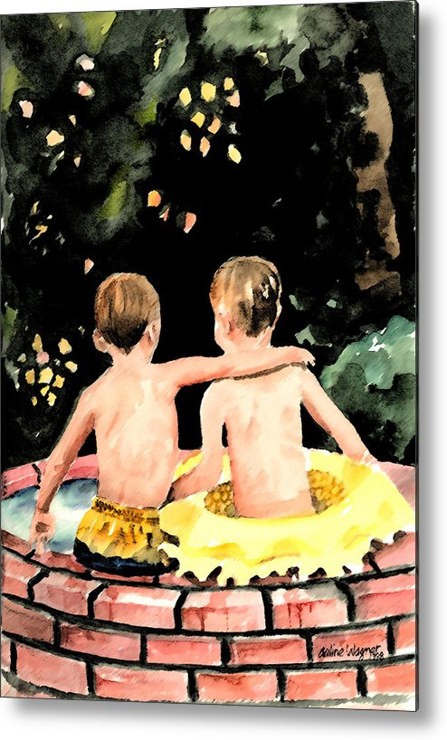 Boys Metal Print featuring the painting Buddies by Arline Wagner