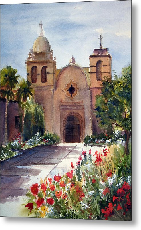 California Metal Print featuring the painting Carmel Mission Basilica by Norah Brown