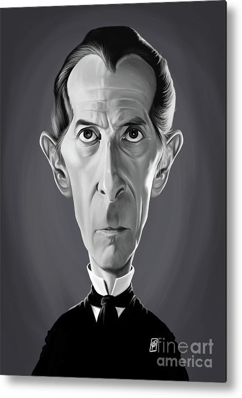 Illustration Metal Print featuring the digital art Celebrity Sunday - Peter Cushing by Rob Snow