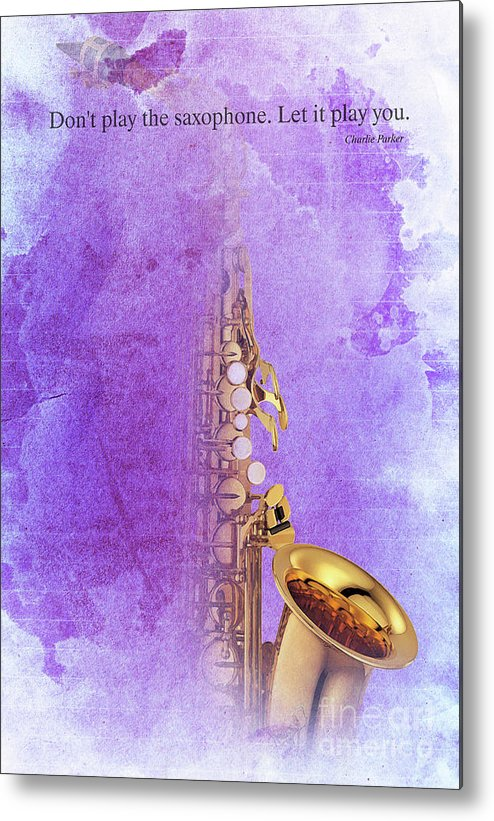 Gift For Musicians Metal Print featuring the digital art Charlie Parker Saxophone Purple Vintage Poster And Quote, Gift For Musicians by Drawspots Illustrations