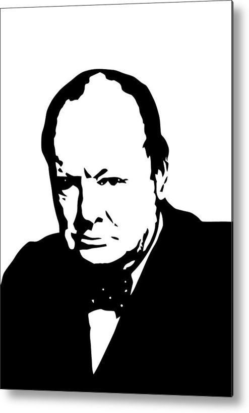 Winston Churchill Metal Print featuring the digital art Churchill by War Is Hell Store