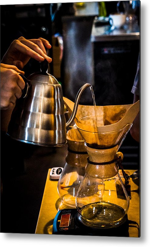 Coffee Metal Print featuring the photograph Coffee First by Ant Pruitt