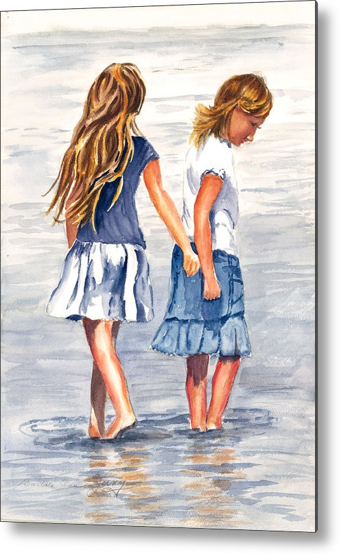 Beach Metal Print featuring the painting Cool by Barbara Jung