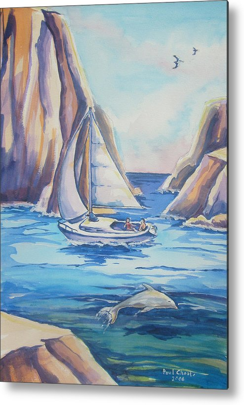 Seascape Metal Print featuring the painting Cove Sailing by Paul Choate