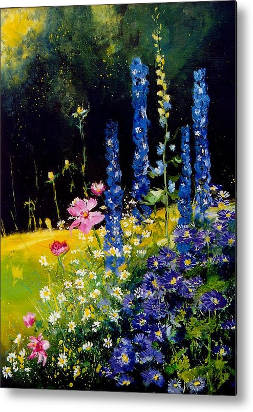 Poppies Metal Print featuring the painting Delphiniums by Pol Ledent