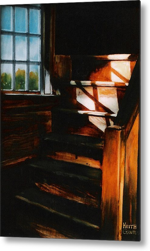 Wooden Stairs Metal Print featuring the painting Descending Light by Keith Gantos