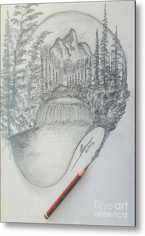 Pencil Drawings Metal Print featuring the drawing Drawing A Masterpiece by Collin A Clarke