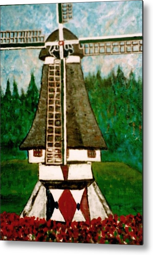 Holland Metal Print featuring the painting Dutch Windmill by Richard Hubal