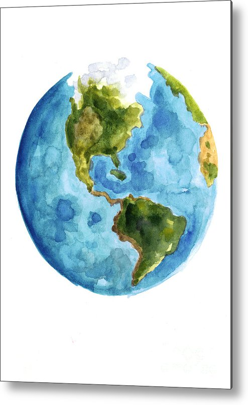 Earth Metal Print featuring the painting Earth America Watercolor Poster by Joanna Szmerdt