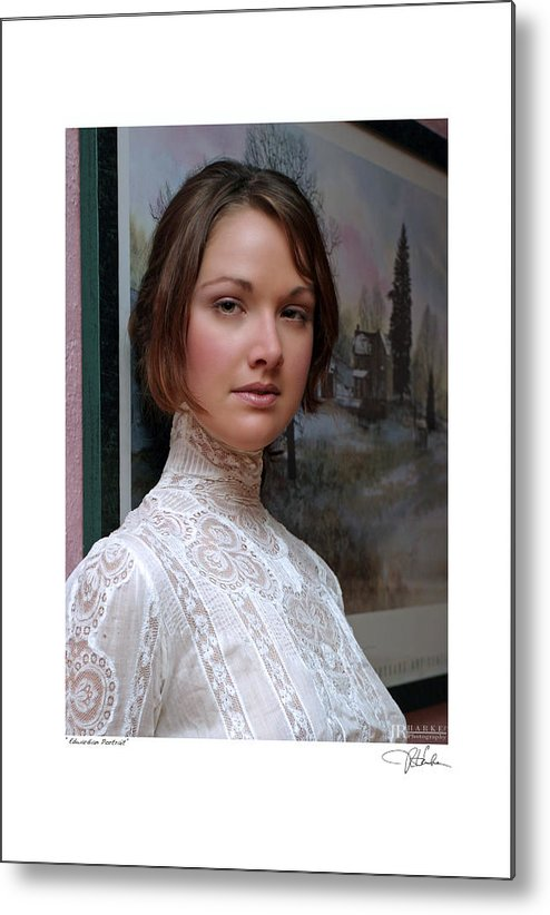 Fine Art Glamour Fashion Metal Print featuring the photograph Edwardian Portrait by JR Harke Photography