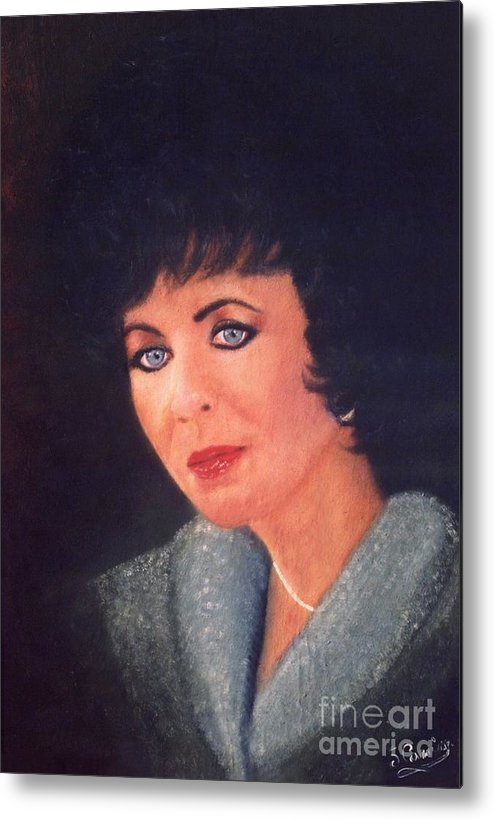 Original Metal Print featuring the painting Elizabeth Taylor Portrait by Liam O Conaire