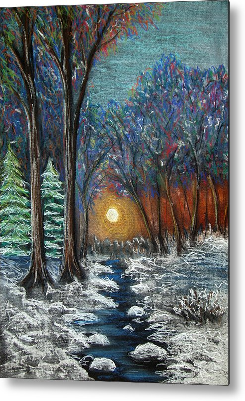 Snow Metal Print featuring the pastel First Snow by Nancy Mueller