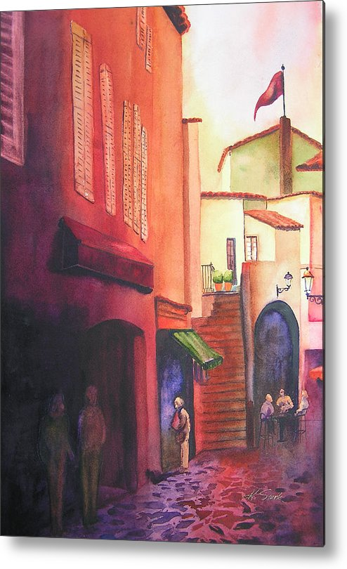 Europe Metal Print featuring the painting Flag Over St. Tropez by Karen Stark