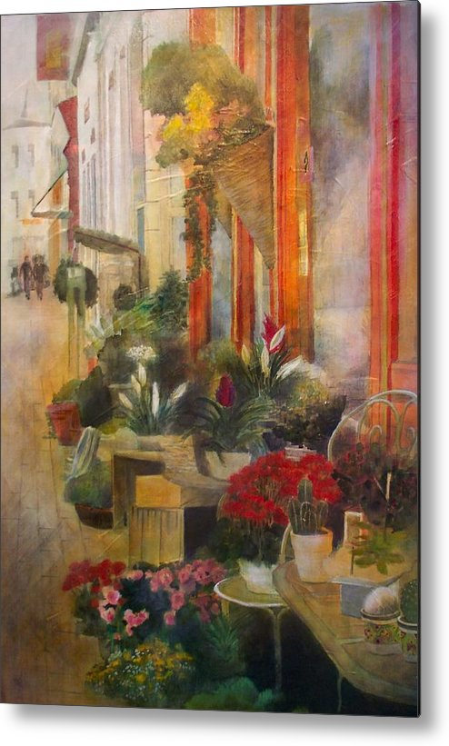 Flowers Metal Print featuring the painting Fleuriste by Victoria Heryet