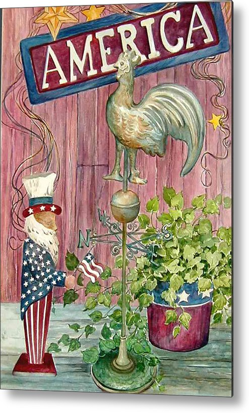 Americana;uncle Sam;america;copper Rooster;ivy;stars;barn Siding; Weathervane; Metal Print featuring the painting God Bless America by Lois Mountz