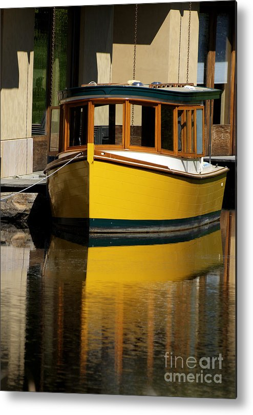 California Scenes Metal Print featuring the photograph Gold Boat Reflects by Norman Andrus