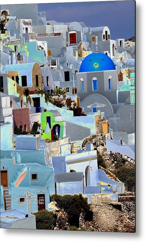 Santorini Metal Print featuring the photograph Greek Isle Of Santorini by Charles Ridgway