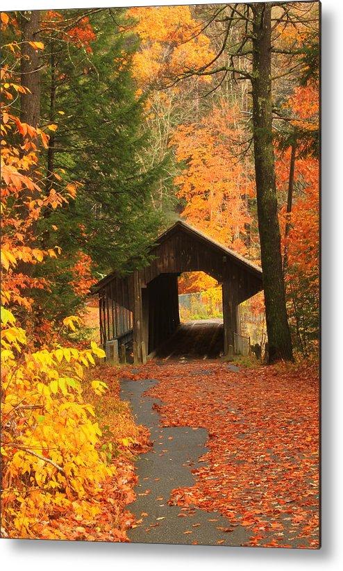 Covered Bridge Metal Print featuring the photograph Greenfield Pumping Station Bridge Autumn by John Burk