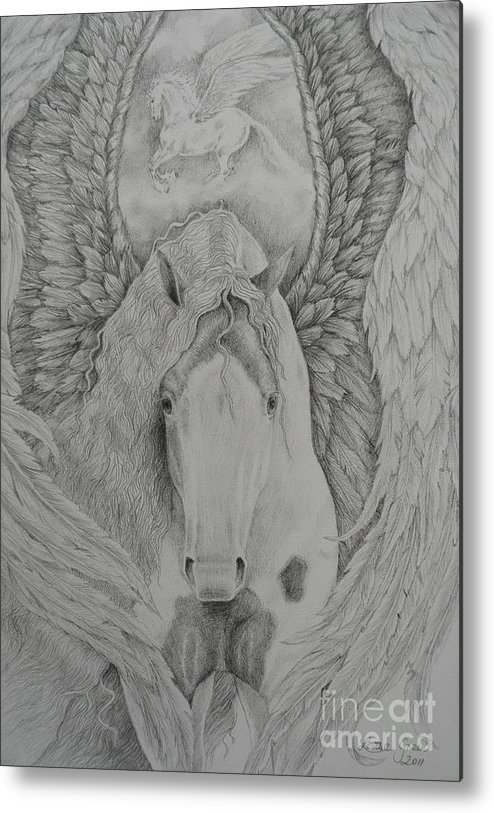 Gypsy Pegasus Metal Print featuring the drawing Gypsy Pegasus by Louise Green
