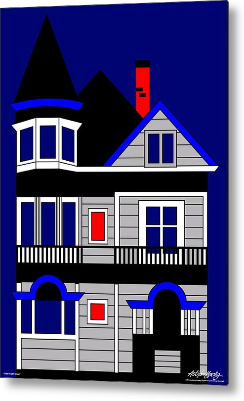 Victorian House Metal Print featuring the painting Haight Street San Francisco by Asbjorn Lonvig