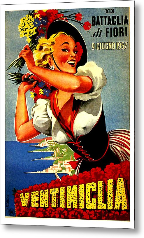 Happy Woman Metal Print featuring the painting Happy Woman With Flowers, Festival In Ventimiglia, Italy by Long Shot