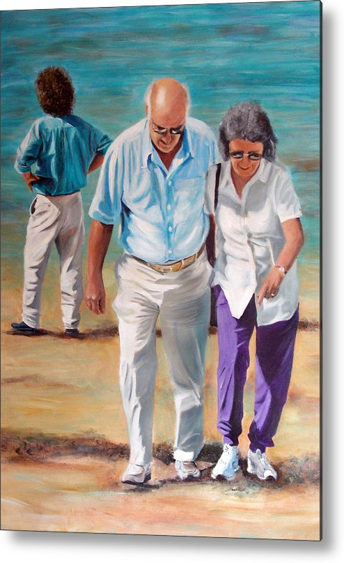 Beach Metal Print featuring the painting Helping Hand by Fiona Jack