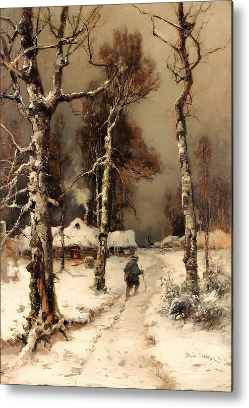 Painting Metal Print featuring the painting Homeward Through The Winter Forest by Mountain Dreams
