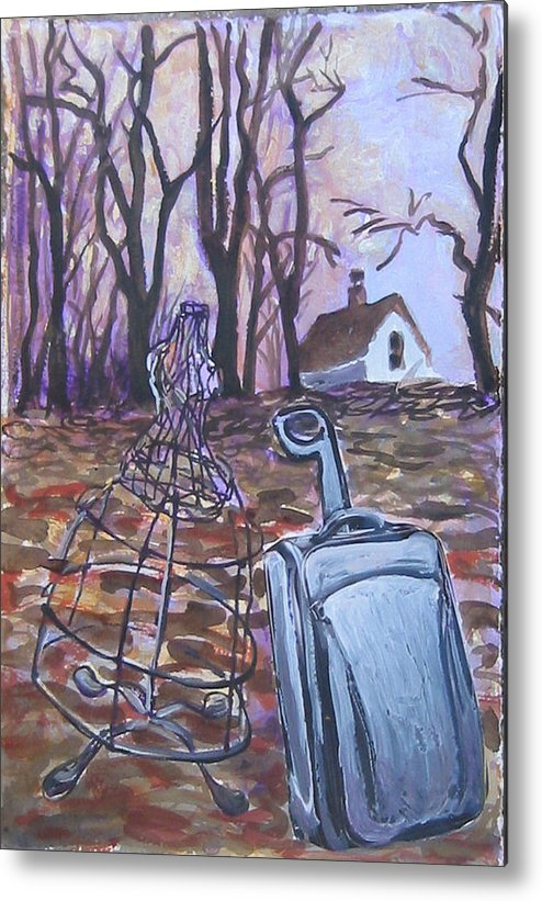 Suitcase Metal Print featuring the painting Homeward Trek by Tilly Strauss