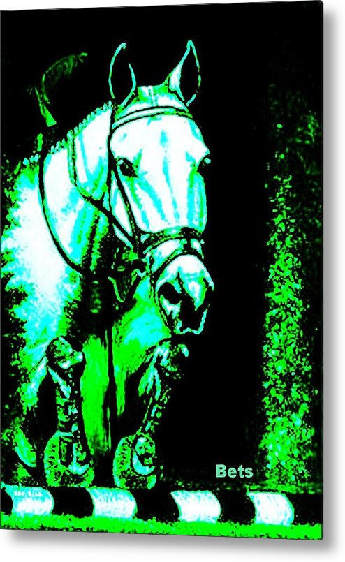 Horse Metal Print featuring the painting Horse Painting Jumper No Faults Black Blue And Green by Bets Klieger