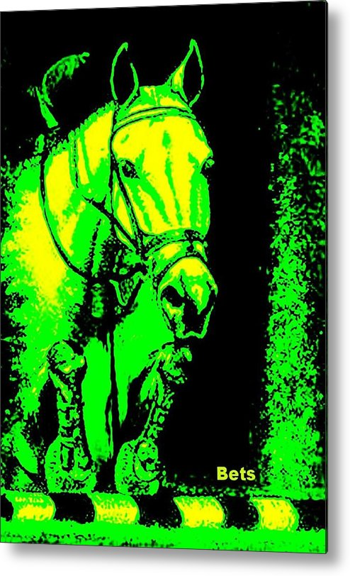 Horse Metal Print featuring the painting Horse Painting Jumper No Faults Green And Yellow by Bets Klieger
