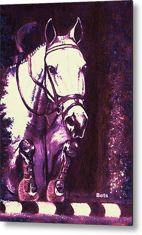 Horse Metal Print featuring the painting Horse Painting Jumper No Faults Purple by Bets Klieger
